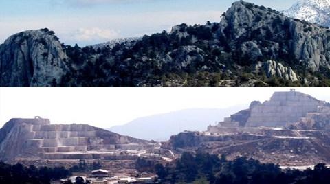 Antalya'daki Dağlar Dilim Dilim Kesildi