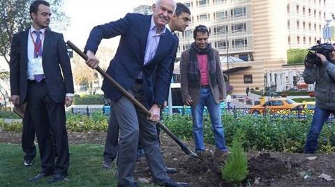 Papandreou Gezi Parkı'na Ağaç Dikti