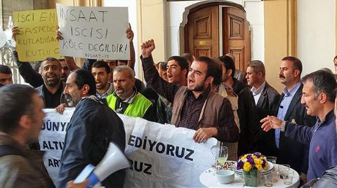 İnşaat İşçileri PTT'yi Protesto Etti!