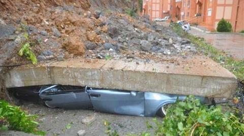 TOKİ Sitesinde İstinat Duvarı Çöktü