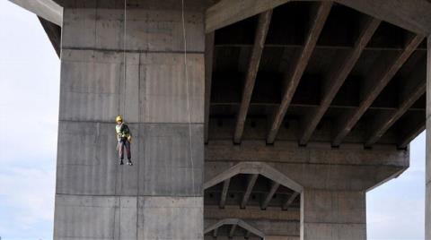 Boğaziçi Köprüsü'nde İşçi Güvenliği Tatbikatı