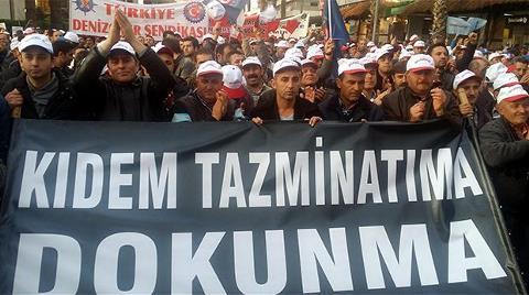 İşçiler Kıdem Tazminatı için Yürüdü