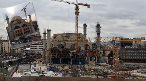 Ulus'ta Yapımı Süren Caminin Kubbesi Çöktü