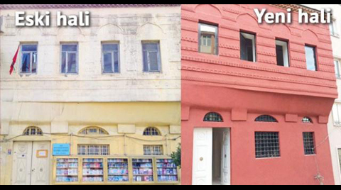 Tarihi Binayı Betonla Sıvadılar