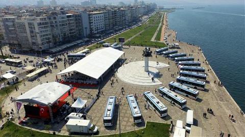 İzmir'de Elektrikli Otobüsler Yola Çıktı