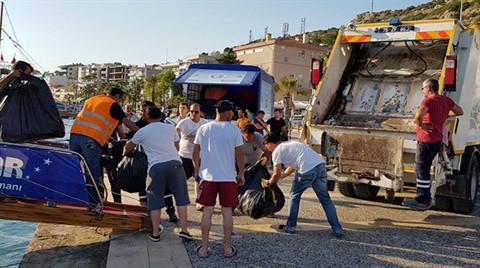 Çeşme'de Adalardan 3,5 Ton Çöp Toplandı