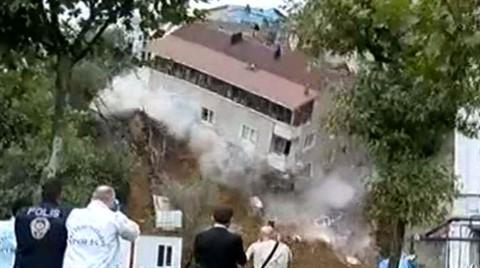 Sütlüce'de Korku Dolu Anlar! Boşaltılan Bina Çöktü