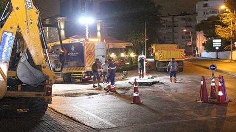 Nispetiye Caddesi'nde Yoldaki Göçük Kapatıldı