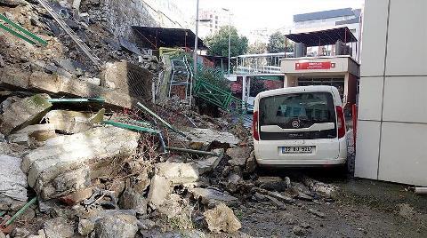 İstinat Duvarı Hastanenin Bahçesine Yıkıldı
