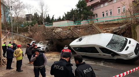 Beykoz'da İstinat Duvarı Araçların Üzerine Çöktü
