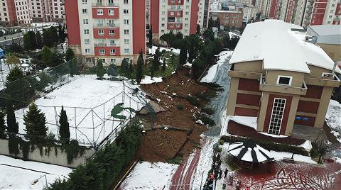 Başakşehir'de Okulun İstinat Duvarı Çöktü