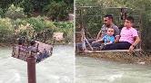 Çoruh Nehri'ni İlkel Teleferikle Geçiyorlar