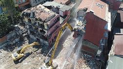 Kağıthane'de Yoğun Güvenlik Önlemli Riskli Bina Yıkımı