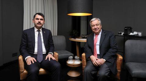 Bakan Kurum BM Genel Sekreteri Guterres ile Görüştü