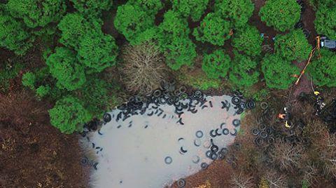 Şile'de Ormana Bırakılan Lastikler Kaldırılıyor