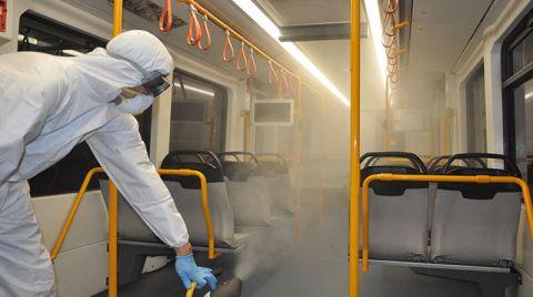 Bursa'da Toplu Taşıma Araçları Dezenfekte Ediliyor