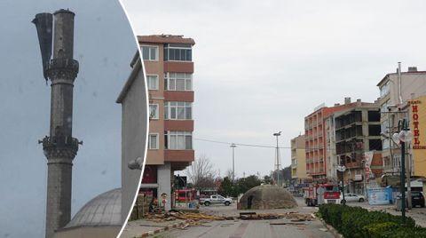 Tekirdağ'da Şiddetli Rüzgar, Minarenin Külahını Söktü