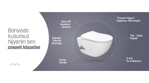 Creavit'ten Daha Hijyenik Bir Banyo için Çözümler