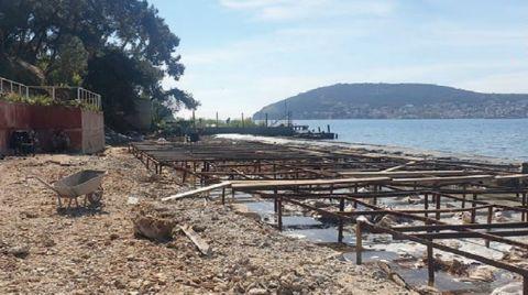 Heybeliada'da Plaja Beton Döküldü