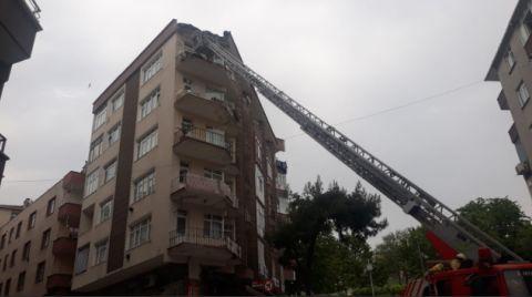 5 Katlı Binanın Terası, Alt Kattaki Balkona Çöktü