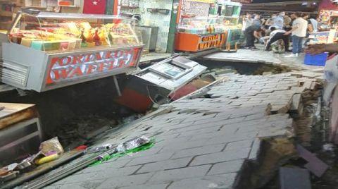 Ortaköy'de Sokakta Çökme