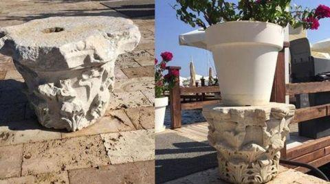 Otel Bahçesindeki Dekorlar Tarihi Eser Çıktı