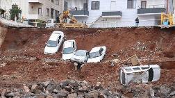 İstinat Duvarı Çöktü, Araçlar Temel Kazı Alanına Düştü