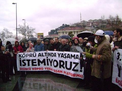 3.Köprü Yerine Yaşam Platformu'nun Aralık 2008'de Beykoz'da gerçekleştirdiği eylem
